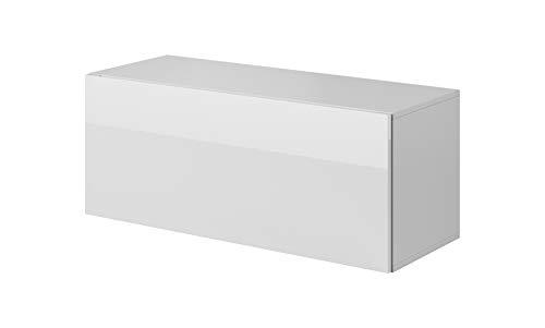 E-Com - TV Board hängend Wohnwand Hängeschrank Hängeboard FAY - 100 cm - Weiss