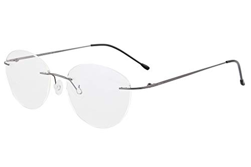 SHINU Damen MR-7 / MR-8 Linsenrahmen Titan Randlose Blaulichtfilter Kundenspezifische kurzsichtige Brille-NS1022(C2,1.67 anti blau-4.00)