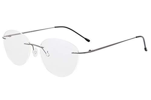 SHINU Damen MR-7 / MR-8 Linsenrahmen Titan Randlose Blaulichtfilter Kundenspezifische kurzsichtige Brille-NS1022(C2,anti blau-3.00)