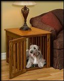 Pinnacle Wood Dog Crate End Table - Indoor Dog House Made with Wood and Stain Colors to Match Your Decor- Decorative and Lovely When Guests Come to Visit.