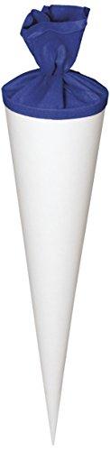 Heyda 204869951 Schultüten-Rohlinge mit Filzverschluss Geschwistertüte (Höhe 35 cm, Durchmesser 11 cm, Karton, 380g/m²) weiß-blau