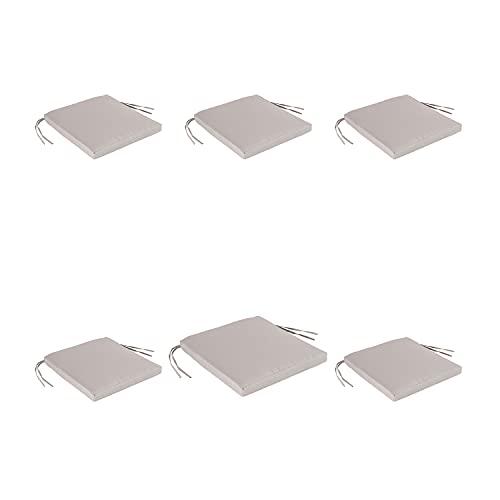 Edenjardi Pack 6 Cojines para sillas y sillones de jardín Color Lux Arena | Tamaño 44x44x5 cm | Repelente al Agua | Desenfundable | Portes Gratis