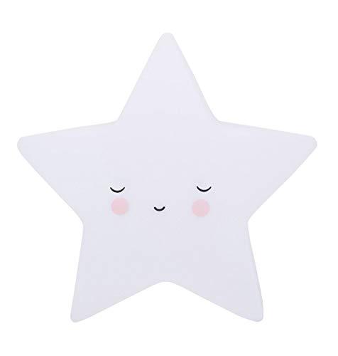 A Little Lovely Company - Nachtlicht, Schlaflicht - Sleeping Star, Stern - weiß - 14,5 x 5,5 x 13,5 cm