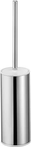 KEUCO Toilettenbürsten-Garnitur aus Metall chrom und Kunststoff weiß, WC-Bürste mit Halterung und Deckel, Standmodell für Bad und Gäste-WC, Moll