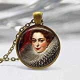 Damen Malerei Anhänger, Portraitgemälde Anhänger, Old Master Halskette, Gesichtsmalerei Schmuck, Bronze, Silber, Frauen Portrait Anhänger