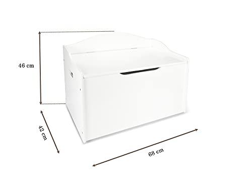 Leomark XL Groß Holz Kindertruhenbank Kinderbank Truhenbank Behälter für Spielzeug, Sitzbank mit Stauraum für Spielsachen Thema: Einhorn - 4