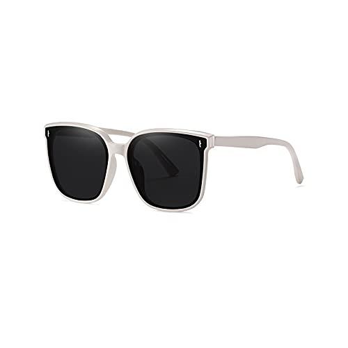 FEINENGSHUAI Nstyj - Gafas de sol polarizadas para mujer, gafas de sol vintage con marco grande para mujer, color gris