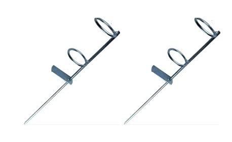pcmoviles 2 Soportes piqueta para caña de Pescar para Suelo de Hierro de 43 centimetros