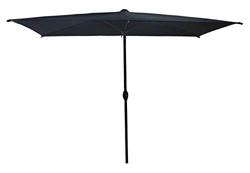 SORARA Parasol Jardin | Noir | 300 x 200 cm (3 x 2 m) | Rectangulaire Porto Deluxe (Mât Bronzé) | Commande à Manivelle | (Excl. Base)
