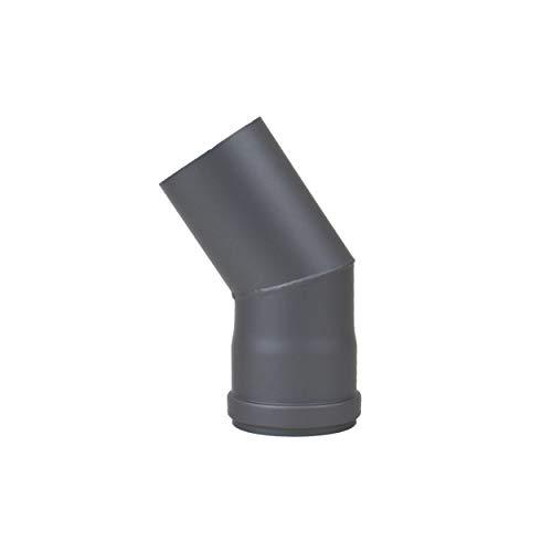 LANZZZAS pellepijp boog 30° graden diameter DN Ø 80 mm, in zwart metallic en gietijzeren grijs, pelletbogen, kachelpijp boog, voor pelletkachels modern gietijzer.