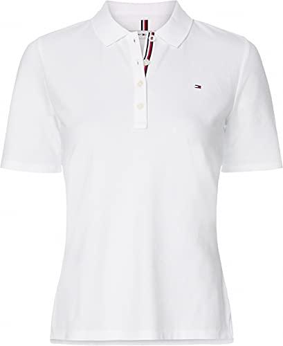 Tommy Hilfiger TH Essential Reg Polo SS Camiseta, Blanco (White), L para Mujer