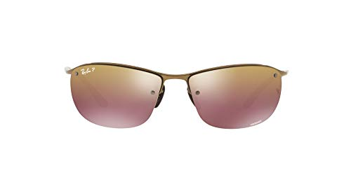 Ray-Ban Junior Herren RB3542 Chromance Brillengestelle, Braun (Shiny Brown/Brownmirrorgoldpolar), 63