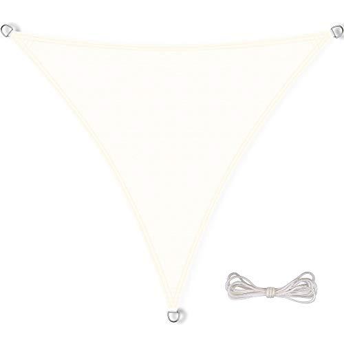 CelinaSun Sonnensegel inkl Befestigungsseile PES Polyester wasserabweisend imprägniert Dreieck 5 x 5 x 5 m Creme weiß