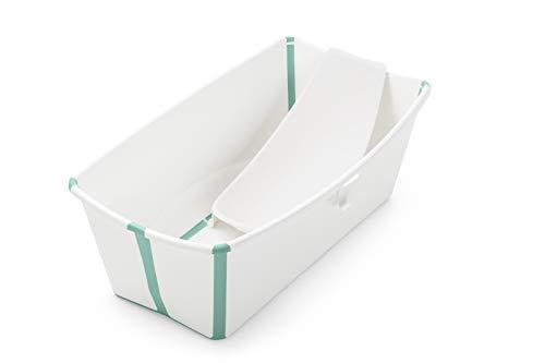 STOKKE® Flexi Bath®│Vasca pieghevole per bambini con supporto ergonomico per neonato│Vaschetta portatile per bambini a partire dai 4 anni│Colore: White Aqua