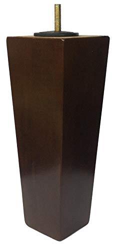 "8"" Wood Tapered Dark Walnut Sofa/Chair/Ottoman [5/16"" Bolt] Replacement Legs - Set of 4"
