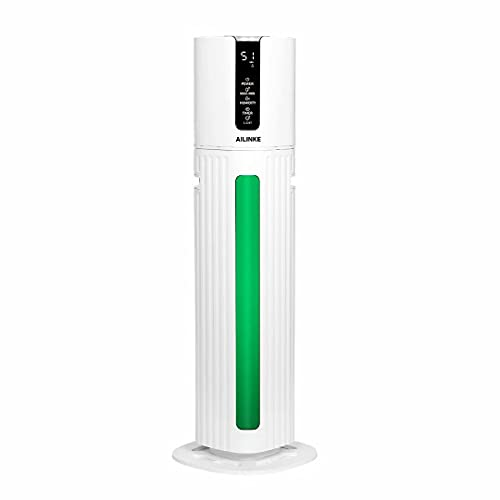 Large Humidifiers for Bedroom, Large Room Humidifiers with 2.11 Gallons Water Tank, 24 Hours Humidification in One Refill with Maximum 300mL/h Mist Output, Light Function