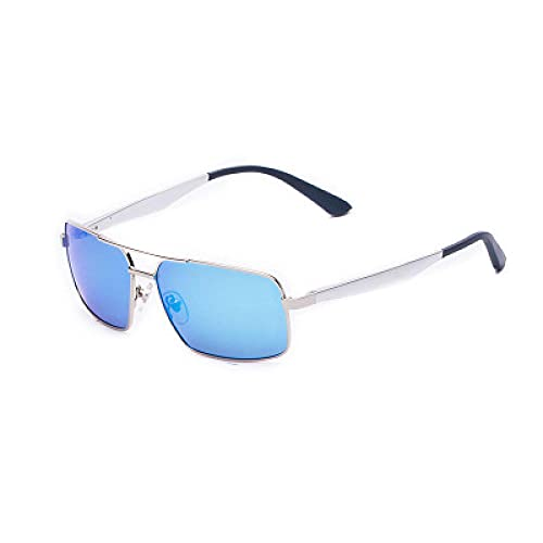 Powzz ornament Caja retro clásico Aluminio Magnesio Gafas de sol polarizadas Hombres S 2021 Nuevas gafas de sol de primavera pequeña-Azul