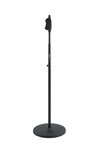 "Gator Frameworks Microphone Stand with 12"" Weighted Base and Deluxe Soft Grip Squeeze Height Adjustment (GFW-MIC-1201)"
