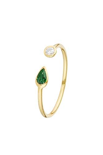 Córdoba Jewels | Sortija en Plata de Ley 925 bañada en Oro. Diseño Hoja Esmeralda & Circle Zirconium Oro