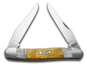 CASE XX White Pearl and Antique Gold Corelon Muskrat Stainless Pocket Knife Knives