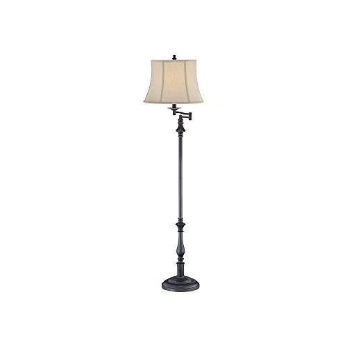 Lite Source LS-81832 Laurence Floor Lamp with Beige Fabric Shade, 60.5' x 17.5' x 17.5', Dark Bronze