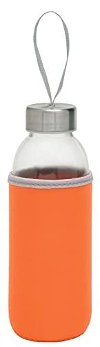TOPICO Take Well Botella, Cristal, SBR, Acero Inoxidable, Naranja y Transparente