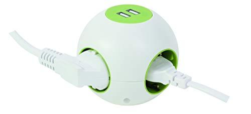 REV Ritter PowerGlobe Kugelsteckdose | Mehrfachsteckdose 4+2-Fach | Schutzkontakt & USB Stromverteiler | Steckdosenleiste | 2pol. Schalter | Anschlussleitung 1,4m | Farbe weiß/mintgrün