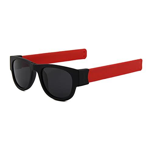 Gafas De Sol Nuevas Gafas De Sol para Mujer, Pulsera Abatible, Gafas De Sol, Sombras Plegables, Moda para Hombre, para Espejo Colorido, Rojo