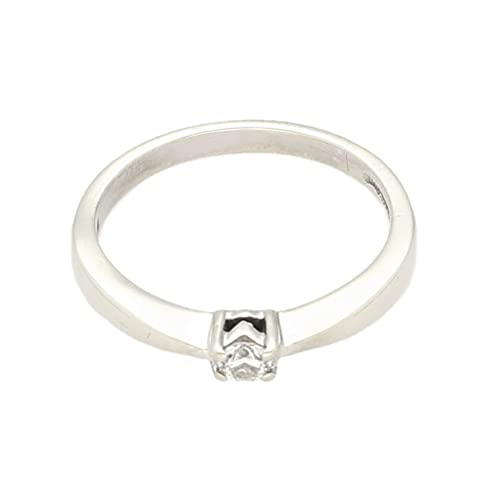 Anillo solitario de oro blanco de 9 quilates de 0,05 quilates (tamaño L) de 3 mm de diámetro, anillo de lujo para mujer
