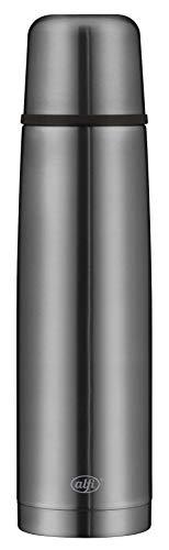 alfi Isolierflasche Edelstahl isoTherm Perfect, Edelstahl grau 1L, Thermosflasche mit Trinkbecher 5737.234.100 dicht, spülmaschinenfest, Thermoskanne 12 Stunden heiß, 24 Stunden kalt, BPA-Free