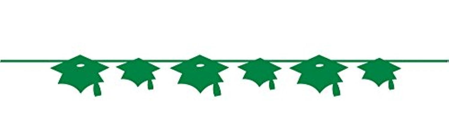 Creative Converting Paper Mortarboard Graduation Banner, Emerald Green