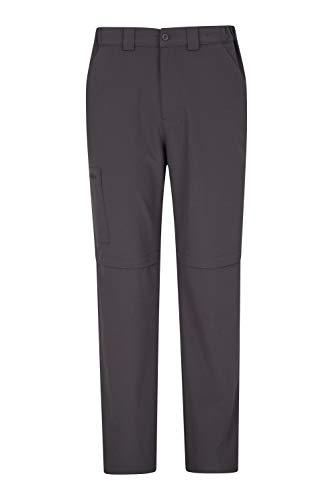 Mountain Warehouse Pantalon Stride Transformable pour Homme - UPF50+ - Léger et décontracté - Se Range Facilement, séchage Rapide - pour Travail, randonnée, Voyages Gris foncé Taille Hommes 58 EU