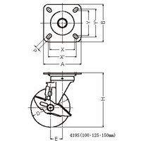 ハンマーキャスター 419S-NRB125 ナイロン車 ストッパー付き 419S-NRB125