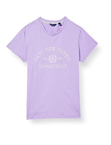 GANT D1. Monogram SS T-Shirt Blusas, Morado Lavanda, 16 años para Niñas