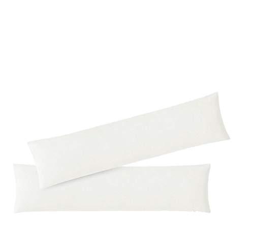 EXKLUSIV HEIMTEXTIL Federe in Jersey 2 Set Confezione Economica con Cerniera Alta qualità 40 x 145 cm Bianco