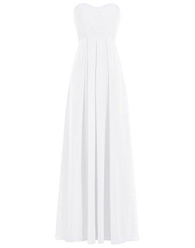 BetterGirl elegant Chiffon Lange Spitze Abendkleid Brautjunfer Kleid-Ivory-46