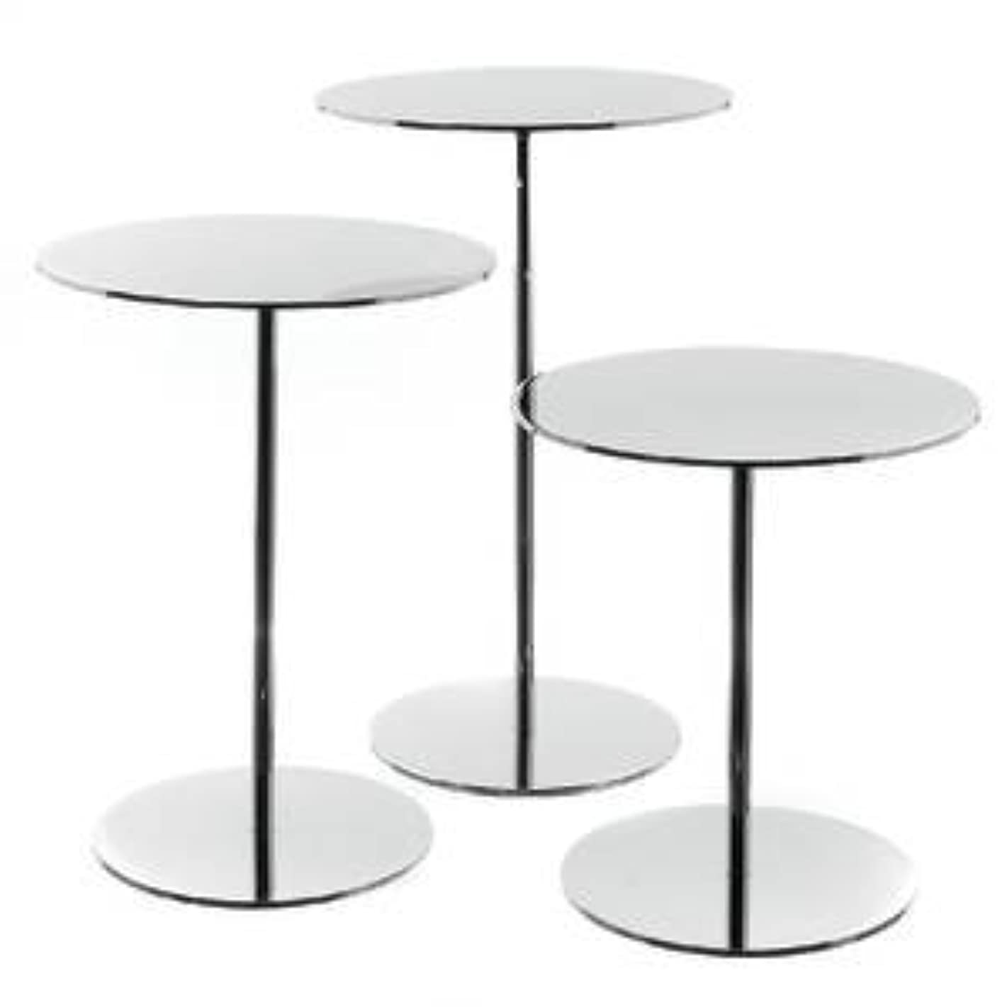 Chrome Round Display Risers Set of 3