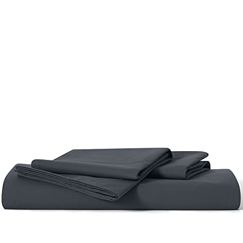 Brooklinen Luxe Starter Sheet Set for Queen Size Bed, Graphite - 3 Piece Set (1 Fitted Sheet + 2 Pillowcases)