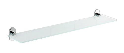 Wenko 22286100 Power-Loc glazen wandplank Puerto Rico - bevestigen zonder boren, gegoten zink, 60 x 7 x 13 cm, chroom