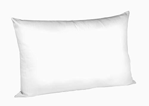 sleepling Funda de cojín 100% algodón fino con cremallera, 40 x 60 cm, color blanco