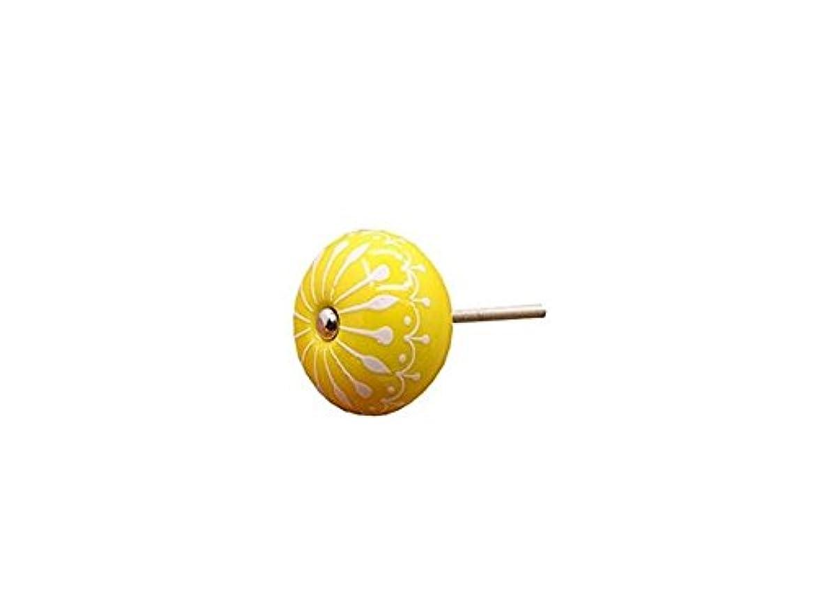押し下げる虫雑品Oside セラミックラウンドフラワードア引き出しノブは、ドレッサーキャビネットキャビネット(黄色)のためのハンドルを引きます