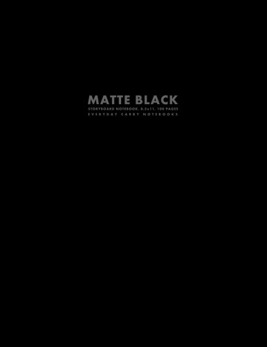 Matte Black Storyboard Notebook, 8.5x11, 100 Pages