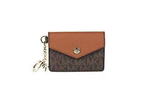 Michael Kors Kala Small Flap Key Ring Card Case Wallet (Brown-Khaki)
