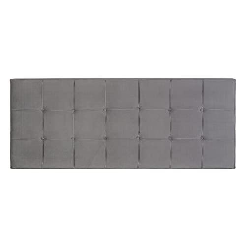 Cabecero tapizado capitoné de Terciopelo Gris para Cama de 135/150 cm - LOLAhome