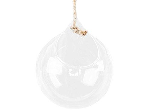 Gespout Petit Vase Verre Transparent Suspendu Decoration Design Salon Rond (10CM)