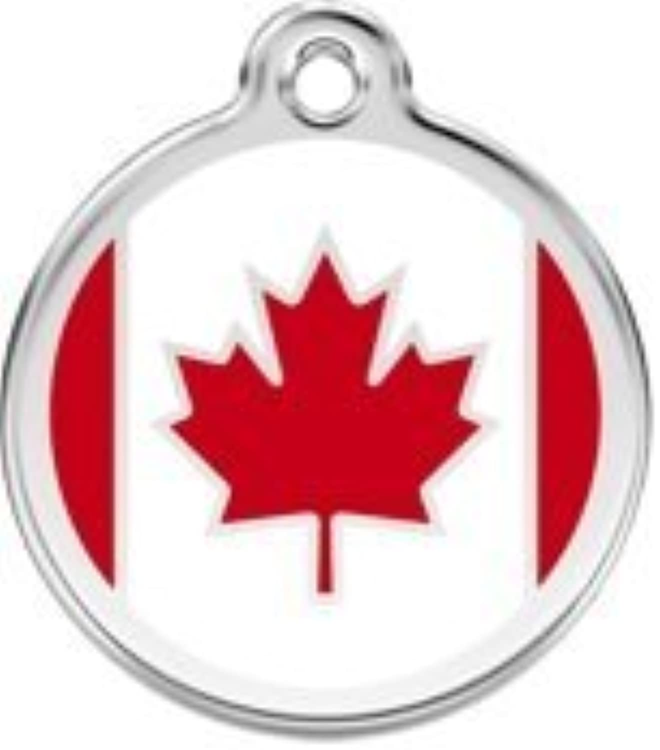 Canadian Flag Pet Id Tag  Small by Cafe La Pooch