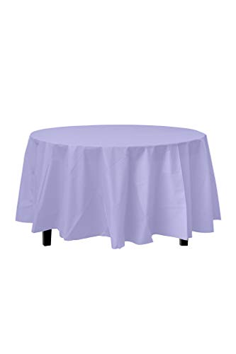 12-Pack Premium Plastic Tablecloth 84in. Round Table Cover - Lavender