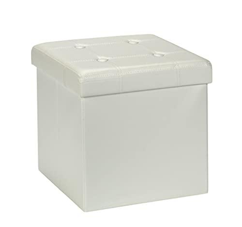 D&D Quality Puff Almacenaje, Asiento Acolchado, 38 x 38 x 38 cm, Plegable - Exterior Polipiel Suave - Carga Máxima de 300 kg (White)