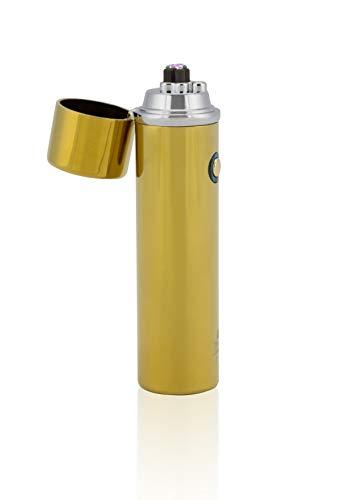 TESLA Lighter TESLA Lighter T02 Lichtbogen Feuerzeug, Plasma Double-Arc, elektronisch wiederaufladbar, aufladbar mit Strom per USB, ohne Gas und Benzin, mit Ladekabel, in edler Geschenkverpackung, Gold Gold