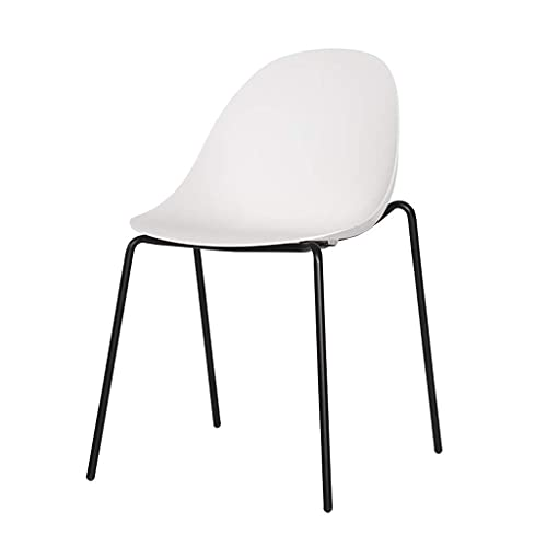 YQG Modern Minimalist Dining Chair, Simple Home Dining Restaurant, European-Style Wrought Iron Backrest, Office Chair for Negotiation (Color : White)